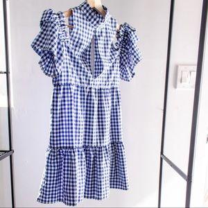 Gingham Cold Shoulder Flowy Dress